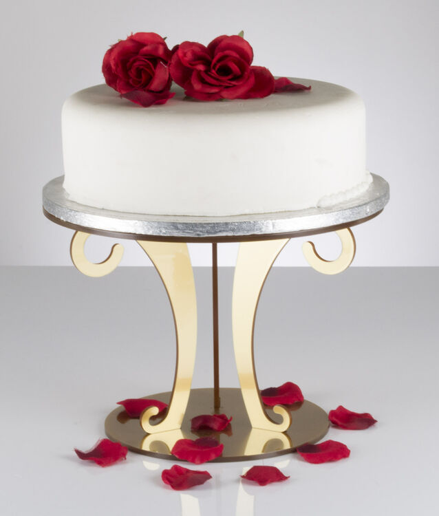 Gold Metallic Acrylic Scroll Wedding Cake Stand From GBP2340