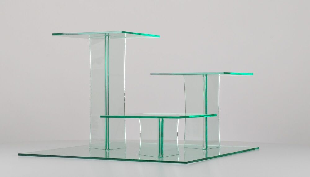 Delia Square 3 Tier Glass Effect Acrylic Cake Stand Only GBP5854