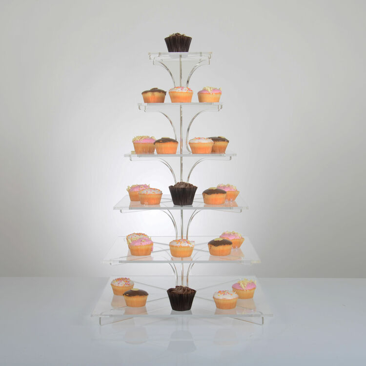 6 Tier Square Acrylic Cupcake Stand Flat Packable Design
