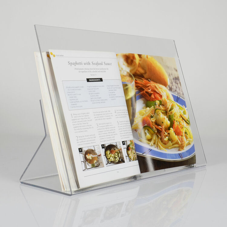 Clear acrylic recipe book stand with splatter screen only - Cream recipe book stand ...