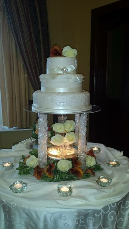 wedding cake water fountain four tier water pillar cake stand 26791