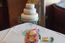 Scroll Design Cake Stand - Glass Effect