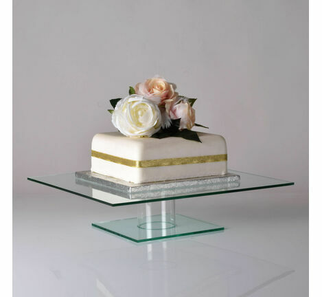 Glass Effect Acrylic Square Pedestal Cake Stand