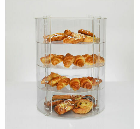 Clear Acrylic Round Cake Display Cabinet - 4 Shelves