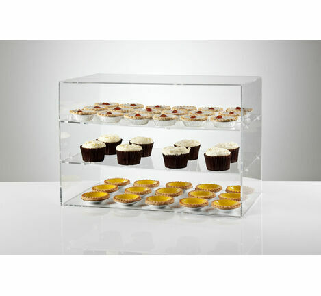 Clear Acrylic Counter Food Display Cabinet - 3 Shelves