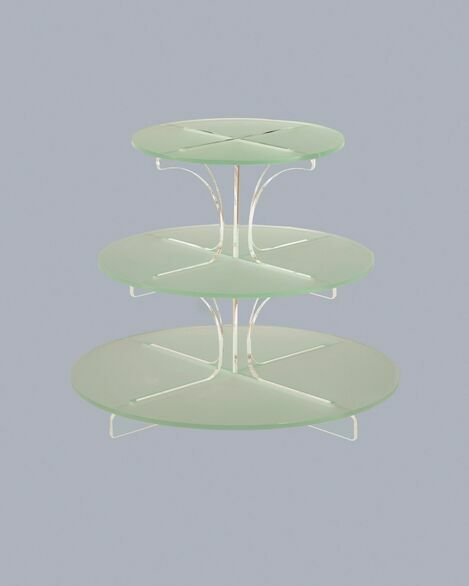 3 Tier Frosted Cupcake Stand with Clear Spine - Green