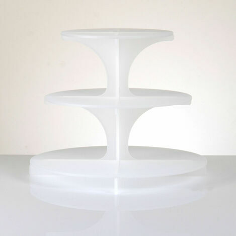 3 Tier Frosted Cupcake Stand - White