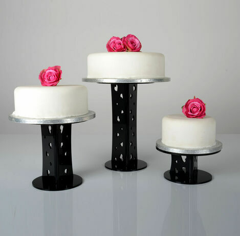Black Olivia Round Single Tier Cake Stand - Various Heights