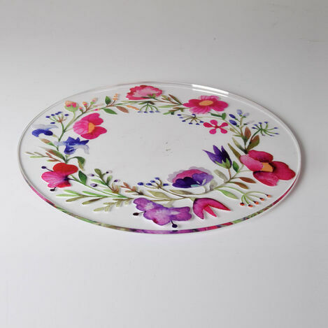 Spring Garland Design Acrylic Cake Plate