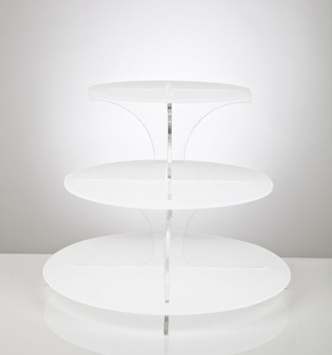 3 Tier Frosted Cupcake Stand with Clear Spine - White