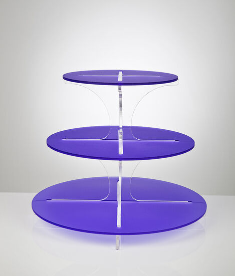 3 Tier Frosted Cupcake Stand with Clear Spine - Violet