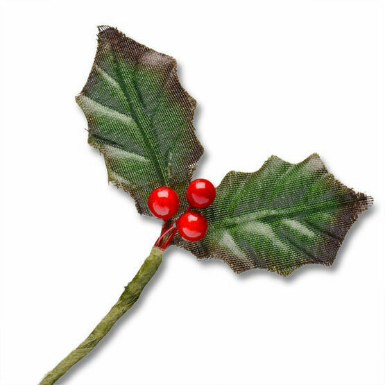 Club Green Small Holly Leaf/Berry Spray