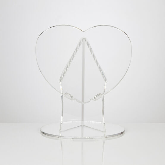 45 Degree Angled Heart Shaped Clear Acrylic Cake Stand