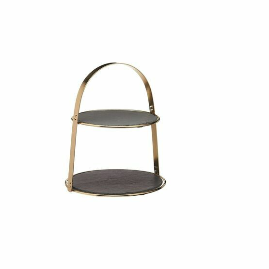 Artesa 2 Tier Brass Coloured Cake Stand with Round Slate Serving Platters