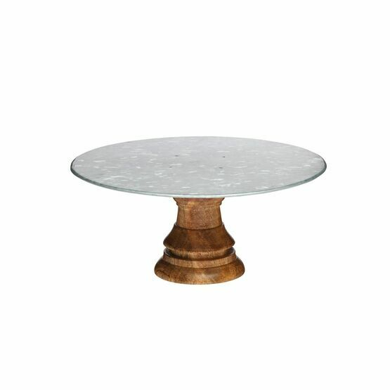 Industrial Kitchen Mango Wood Footed Cake Stand