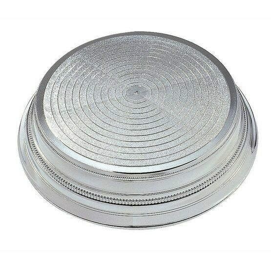 Round Plastic Cake Stand - Silver 355mm