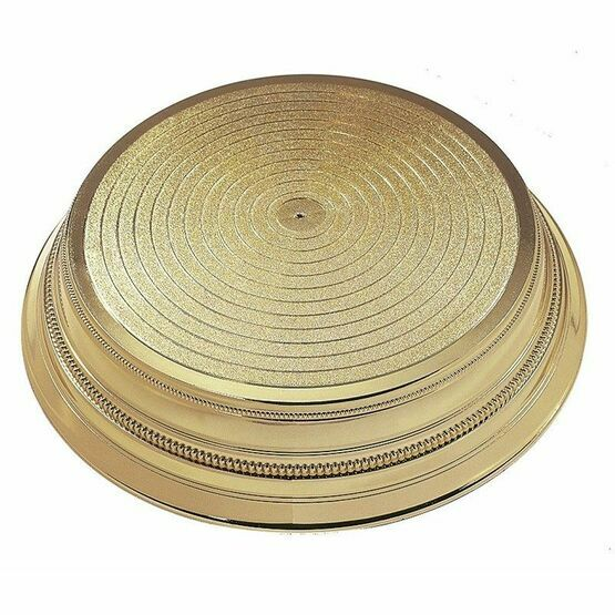 Round Plastic Cake Stand - Gold 355mm