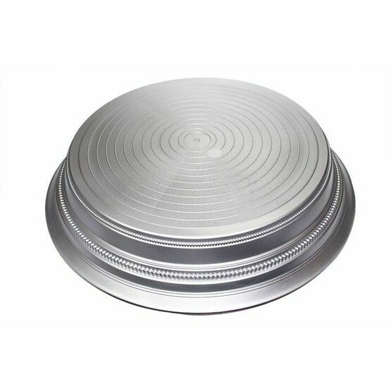 Round Plastic Cake Stand - Satin Silver 355mm