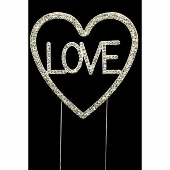 Love & Heart Diamante Cake Topper