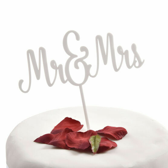 White Acrylic Cake Topper Mr & Mrs