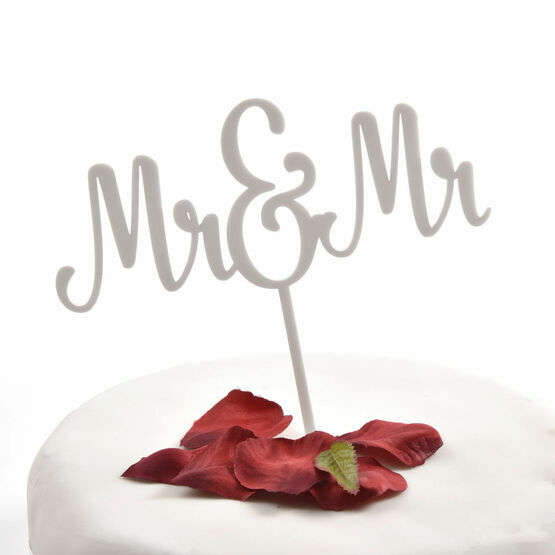 White Acrylic Cake Topper Mr & Mr